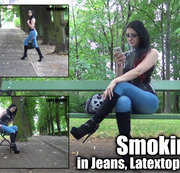 Smoking in Jeans,Latextop und Stiefeln