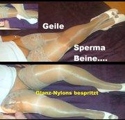 Sperma Beine - Nylons heftig vollgerotzt
