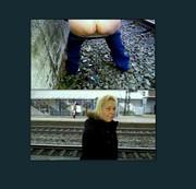 public peeing am Bahnsteig