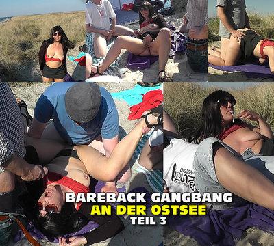 Bareback Gangbang am Strand - Teil 3